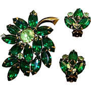 JULIANA Style Emerald and Peridot Crystals Leaf Pin and Clip Earrings Set