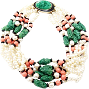 KJL KENNETH J. LANE Simulated Pearl, Jade, Onyx, and Coral Beads Torsade Necklace and Clip Earrings Set