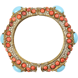 K.J.L. 1960's Turquoise and Coral Cabochons and Diamante Bangle Bracelet