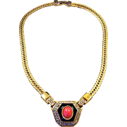 KJL KENNETH J. LANE Simulated Coral, Onyx and Diamante Deco-style Necklace
