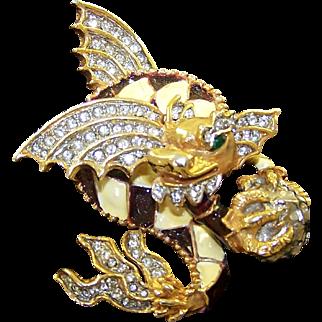 K.J.L. KENNETH J. LANE 1960's Large Enamel and Diamante Dragon with Egg Pin