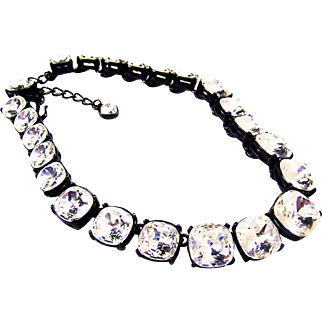 KJL KENNETH J. LANE 'Headlights' Crystals in Japanned Finish Necklace