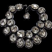 KJL KENNETH J. LANE 'Headlights' Crystal Bib Collar Necklace, Bracelet, and Clip Earrings Set in Japanned Finish Necklace