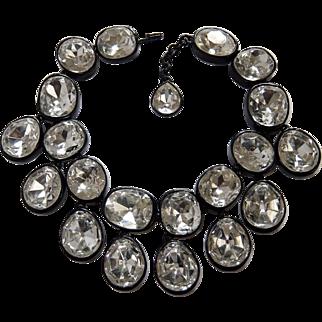 KJL KENNETH J. LANE 'Headlights' Crystal Bib Collar Necklace in Japanned Finish Necklace
