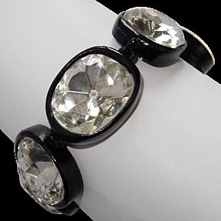 KJL KENNETH J. LANE 'Headlights' Crystal Link Japanned Metal Bracelet