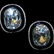 KJL KENNETH J. LANE 'Headlights' Crystal Link Japanned Metal Clip Earrings