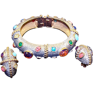 K.J.L. KENNETH J. LANE 1960's Multi-color Cabochon and Crystals Two-toned Metal Bangle Bracelet and Clip Earrings Set