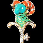 KJL KENNETH J. LANE Enamel & Lucite 'Aries the Ram' Zodiac Star Sign Pin