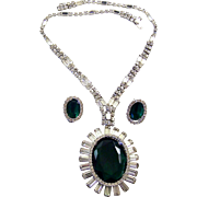 KRAMER, NY Emerald Green and Diamante Crystals Pendant Necklace and Clip Earrings Set