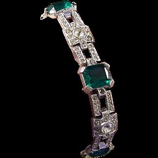 KTF TRIFARI Art Deco Simulated Emerald and Pavé Bracelet