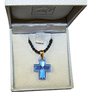 LALIQUE Amour Passion Blue Crystal Cross Pendant On Silk Cord in Lalique Box