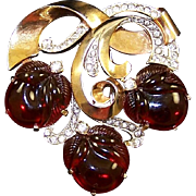MAZER 'Triple Acorns' Red Lucite 'Jelly Belly'/Fruit Salad Pave Swirl Pin/Clip