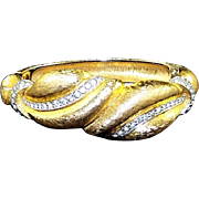 JOSEPH MAZER Vintage Gold 'Leaves' and Pave Rhinestone Hinged Bangle Bracelet