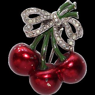 MAZER Metallic Enamel and Pave Cherry Clip/Pin