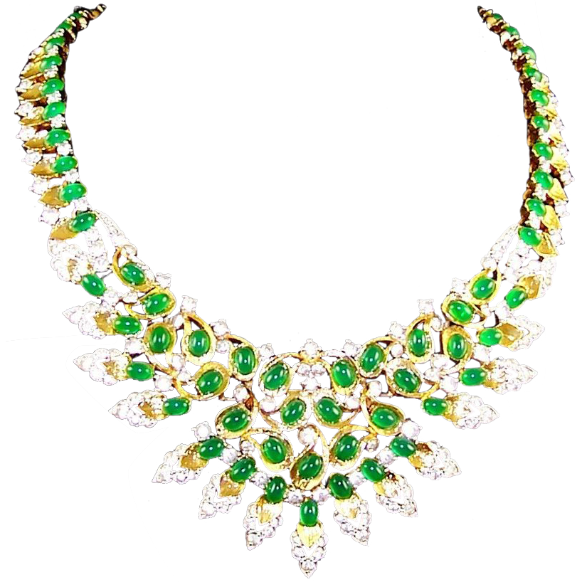 Jomaz chrysophase glass simulated diamond peacock necklace from