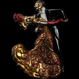 MOSELL 1940's Ultra Rare Enamel and Rhinestone Ballroom Dancing Couple Pin