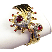 McCLELLAND BARCLAY Deco Ruby Red and Clear Rhinestones 'Nautilus' Bangle Bracelet