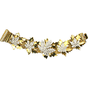 McCLELLAND BARCLAY Gold and Pave Maple Leaf Bracelet