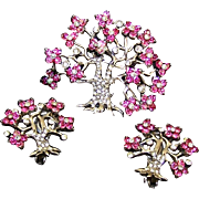 PENNINO Sterling Fuchsia and Pave 'Tree of Life' Pin/Pendant & Clip Earrings Set