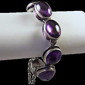 ANTONIO PINEDA Taxco 970 Sterling Genuine Amethyst Modernist Link Bracelet