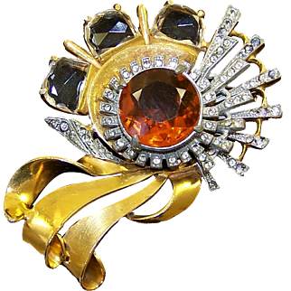 REINAD Massive Topaz and Clear Crystal, Pave Rhinestones Deco Pin
