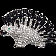 REJA (Unsigned) Black Enamel and Pave Rhinestones Porcupine Pin