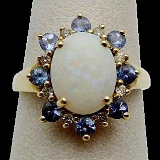 10k Y.G. Opal, Tanzanite, and Diamond Vintage Ladies Ring