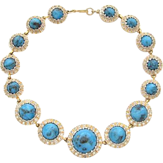 NETTIE ROSENSTEIN Turquoise Cabochons and Rhinestone Necklace