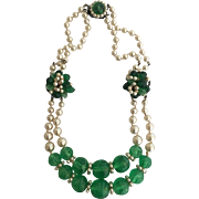 ROUSSELET MADE IN FRANCE Two-Strand Simulated Pearls, Gripoix Pate de Verre Poured Glass Necklace