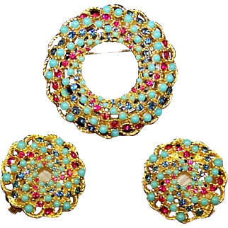 SARAH COVENTRY Simulated Turquoise, Sapphire, and Ruby Swirl Pin and Clip Earrings Set