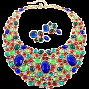 SCAASI Massive Multi-color Gemstones Bib Necklace and Earrings Set