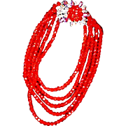 SCHIAPARELLI 5-Strand Ruby Red Crystal and Aurora Borealis Starburst Necklace