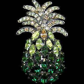 SCHIAPARELLI Greens & Topaz Crystal Large Pineapple Pin