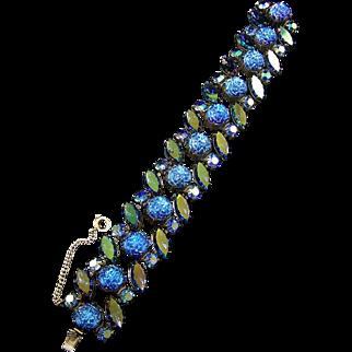 SCHIAPARELLI Sapphire Blue Aurora Borealis and Molded 'Roses' Glass Bracelet