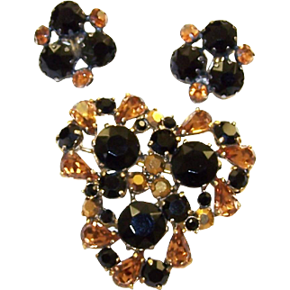SCHIAPARELLI Topaz and Dark Chocolate/Jet Crystals Pin and Clip Earrings
