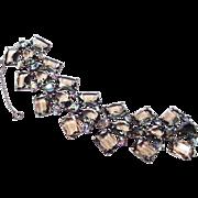 SCHIAPARELLI 'Black Diamond' Chiclet and Aurora Borealis Crystals Wide Bracelet