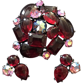 SCHIAPARELLI Massive Ruby Red, Pink and Aurora Borealis Crystals Domed Pin and Clip Earrings Set