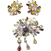 SCHIAPARELLI Aurora Borealis Crystals, Baroque Pearls Large Pin and Clip Earrings Set