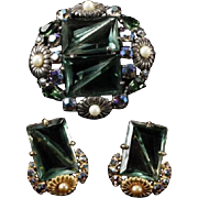 Schiaparelli Emerald and Aurora Borealis Crystal Faux Pearl Pin and Clip Earrings