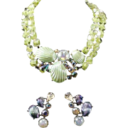 SCHIAPARELLI Molded Shell Motif Necklace and Clip Earrings Set