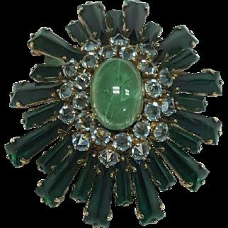 SCHREINER, New York Emerald Green and Azure Blue Ruffle Pin/Pendant