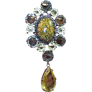 SCHREINER Large Pine Green and Citrine Crystal, Polished Stone Pin/Pendant