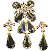 SCHREINER Large Clear Crystals and Lucite Pin/Pendant and Clip Earrings Set