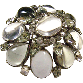 SCHREINER (unsigned) Large Clear and 'Black Diamond' Cabochons and Rhinestones Domed Pin