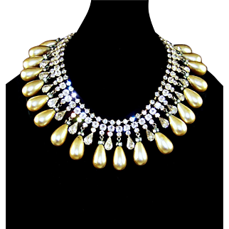 SCHREINER Teardrop Pearl and Crystal Collar Necklace