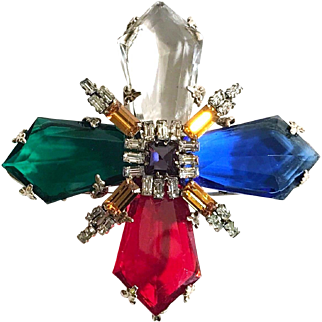 SCHREINER (Unsigned) Large Multi-color Glass Maltese Cross Pin/Pendant