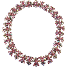 SHERMAN Pink & Aurora Borealis Crystal Links Choker Necklace