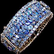 SHERMAN 6 Row Peacock Blue Aurora Borealis Crystals 3-Section Rigid Bangle Bracelet