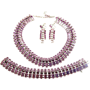 SHERMAN Rare Lilac/Lavender and Amethyst Baguette Crystals Necklace, Bracelet and Earrings