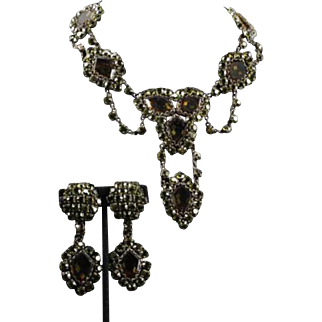 SHERRI JENNINGS SLJ Italy Couture Green Crystal & Rhinestone Necklace & Clip Earrings